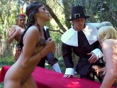 Sexy Thanksgiving orgy they will always remember