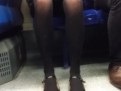 Black tights, parted Upskirt