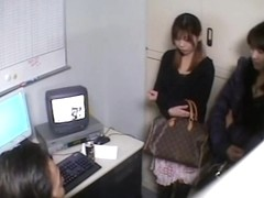 Amazing spy camera Japanese sex video with two gals