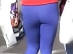 Tight blue pants wrapping the candid amateur ass around 05zq