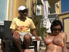 Busty and slutty Pyrah Lee found really huge dick at the neighbor backyard