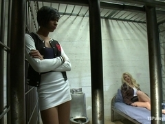 NO Lesbo Action in County Jail Honey Foxxx and her Massive Cock Fuck a Blonde Inmate
