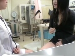 Leggy Japanese gets dildo in her slit during Gyno exam