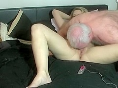 Old guy with weird fetish fucks with younger girl