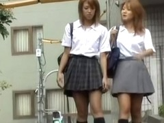 Double Shuri sharking video of two brown-haired Japanese schoolgirls