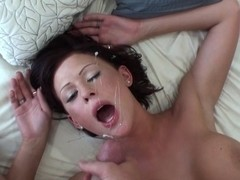 Busty girlfriend fucking and taking facial cumshot