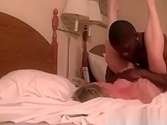 Filmed sexy interracial act in hotel room