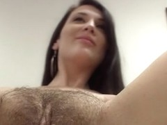 Chubby brunette with hairy pussy fucked an interview