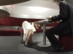 Horny Japanese couple shagging in an empty restaurant
