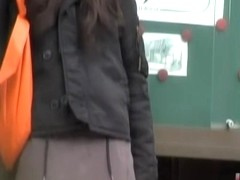 Bus stop sharking action with tantalizing sweetie being easily tricked