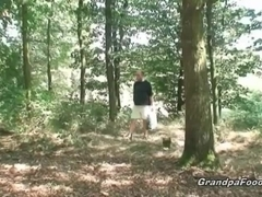 Sexy babe meets old dude in the woods…