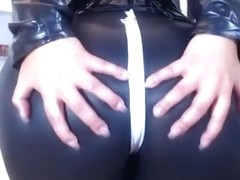 Hot webcam model in sexy leather outfit shows off her fine booty