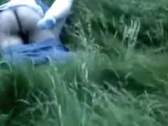 Voyeur tapes a couple having missionary and cowgirl sex in nature