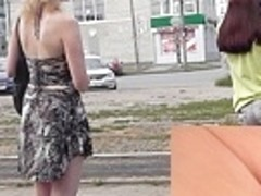 Real street upskirt vid with golden-haired