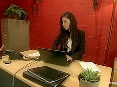 Busted Watching Porn at Work Boss Punishes Bad Employee w Her Own Cock