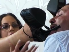 Dark-haired Emma Butt swallows a huge delicious wiener
