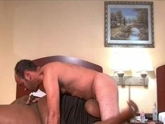 Voluptuous tranny blows latin lover