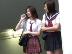 Double sharking attack with two Japanese schoolgirls being in the center of it