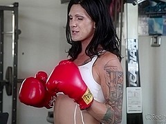 Brunette shemale does professional blowjob to lover