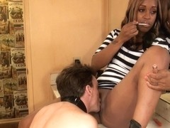 Black slut gets her twat licked by a white fella