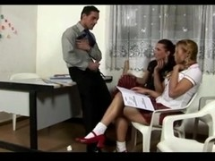 Two lustful TS schoolgirls fuck with their teacher