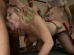 It takes five thick fire hoses to drench Simone Sonay's hot MILF cunt