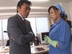 Reiko Nakamori cleans cock with her mouth!