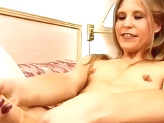 Slim blonde Kyla plays with a sex toy before fucking a throbbing cock