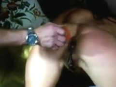 Warming up the gf's ass with a buttplug and then i fuck her anal doggystyle
