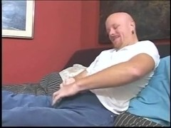 Bald man drilled by tranny in helmet