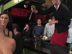 Busty brunette fucked in front of a bar full of people!!!!