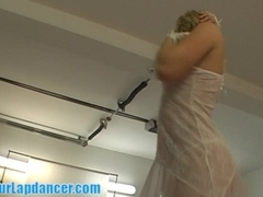 Chubby blonde lapdancing in white lingerie
