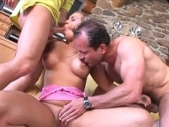 Busty blonde Mia Leone gets nailed in hot threesome