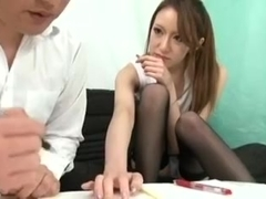 cute teacher handjob and footjob
