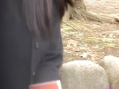 Outdoor crazy sharking action with some tempting oriental bimbo