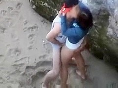young couple fuck at the beach