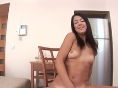 Horny Malaya rides her new sex toy on floor