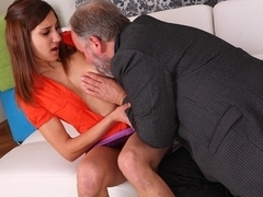 A sexy girl gets fucked hard and her pussy eaten by erotic older lover when her boyfriend comes - .