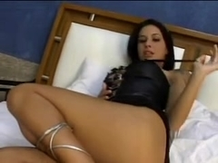 Lovely girl does fine blowjob and is double penetrated