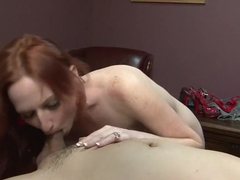 Horny pornstar Audrey Lords in amazing blowjob, redhead sex video