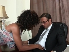 Ebony babe Misty Stone fucking in the office