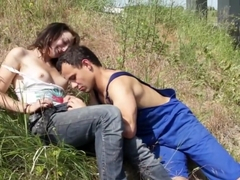 Hottest pornstar in crazy blowjob, outdoor adult video