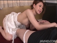 China Mimura gives a great rim job in advance of engulfing a penis