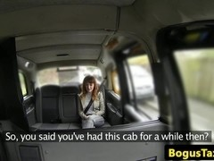 Cocksucking redhead facialized by taxi driver