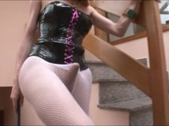 Domme tgirl Sabrina Sherman gets her stockings ripped and anal screwed