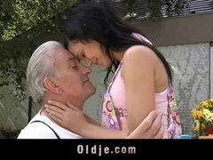 Sweet girl enjoying old dick