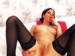 Brunette Nastysecretary plays with her pussy