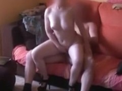 Blonde milf makes a sextape with her man on the sofa