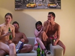 Wicked college cuties go canned and plunge into group fuckfest