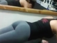 Ass in yoga pants in gym